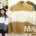 STYLEZOA家2014秋冬新款保暖最佳韩国款百搭撞色高领女式套头毛衣